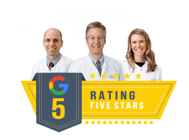 Google 5 star rating logo with photos of our staff
